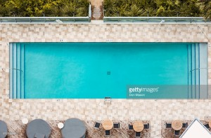 Aerial view of empty swimming pool